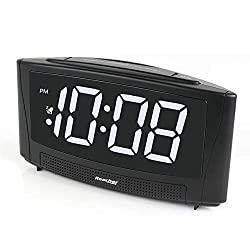 Reacher Digital Alarm Clock with USB Charger Port 6 Large LED Display Simple Operation and Easy Snooze Outlet Powered for Bedrooms Bedside Phone iPhone - Black
