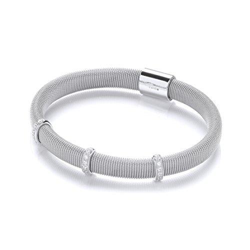 J'JAZ Mangetic Bracelet en argent Sterling avec 3 rangées de diamants Cz JZBN003's