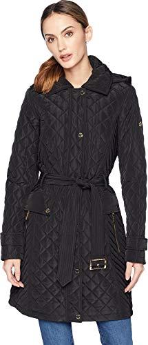MICHAEL Michael Kors Women's Snap Front Long Belted Quilt Coat M423752GZ Black X-Large