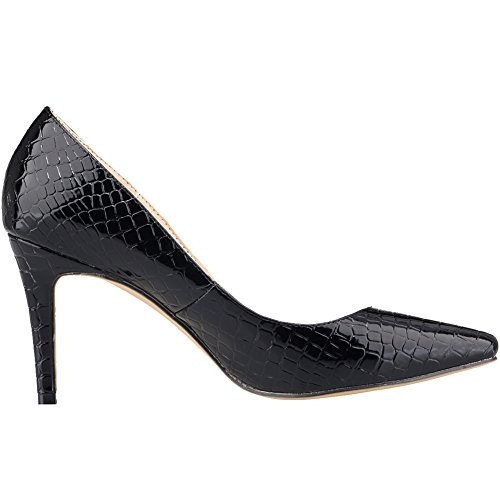 Pumps High Closed Black Womens Crocodile Shoes On Heels Slip Loslandifen Stiletto Toe Dress qUvSwwxa