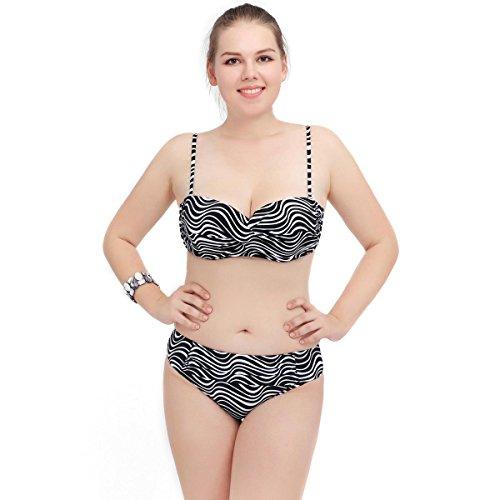 SZH YIBI La Sra gran bikini de tamaño medio ambiente fertilizantes de alta elasticidad para aumentar Europa y los Estados Unidos traje de baño partido de secado rápido zebra stripes