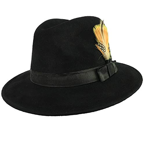 Classic 100% Pure Wool 1920s Gangster Hats w/Bowknot Feather, Manhattan Fedora Hat,Black ()