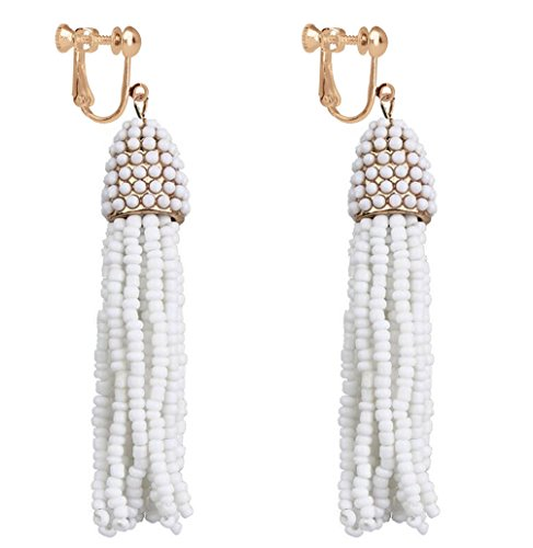 Women's Beaded Tassel Earrings Long Fringe Drop Clip on Earrings Dangle Jewelry Bridal White (Beaded Clip On Earrings)
