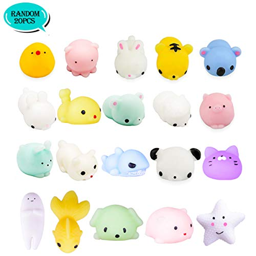 (LEEHUR Mochi Squishy Toys Party Favors for Kids Random 20Pcs Kawaii Soft Mini Moj Moj Squishies Pack Adults Squeezing Stress Anxiety Relief Toys School Prizes)