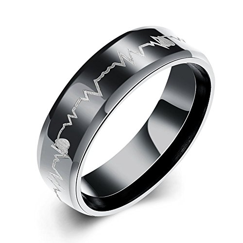 - Eternity Love Men's Cardiogram Heartbeat Rings 6MM Black 316L Titanium Stainless Steel Engraving Laser Pattern Promise Wedding Rings Bands Beveled Edge High Polished Finish Comfort Fit Size, 9