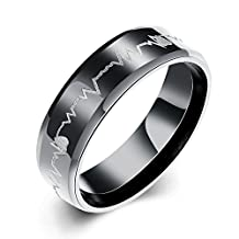 Eternity Love Men's Cardiogram Heartbeat Rings 6MM Black 316L Titanium Stainless Steel Engraving Laser Pattern Promise Wedding Rings Bands Beveled Edge High Polished Finish Comfort Fit Size 7-10