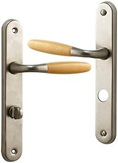 poigne de porte intrieure design en aluminium nickel mat et bois clair sur plaque conda