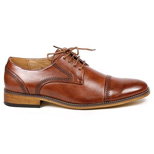 Uv Handtekening G61069-133 Mens Lace-up Cap Toe Oxford Jurk Schoenen Lopen Groot Bruin