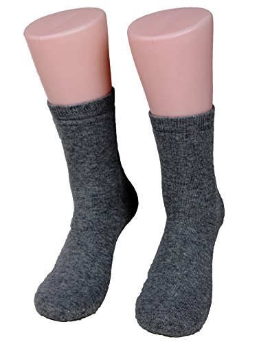 Lian LifeStyle Women's 2 Pairs Extra Thick Wool Socks Plain Color Size 7-9(Dark Gray)