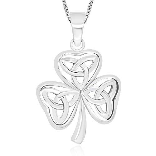 925 Sterling Silver Celtic Shamrock Pendant Necklace, 18