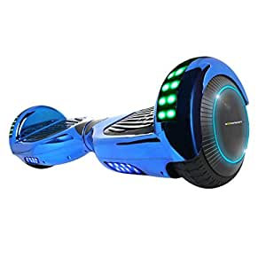 Hoverboard Two-Wheel Self Balancing Electric Scooter UL 2272 Certified, Metallic Chrome with Bluetooth Speaker and LED Light (Chrome Blue)