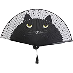 WINOMO Cat Folding Bamboo Silk Handheld Fan - Black