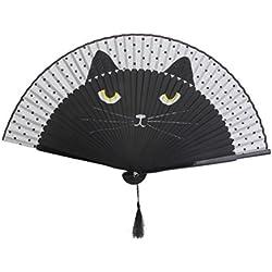 WINOMO Cat Folding Bamboo Silk Handheld Fan - Black