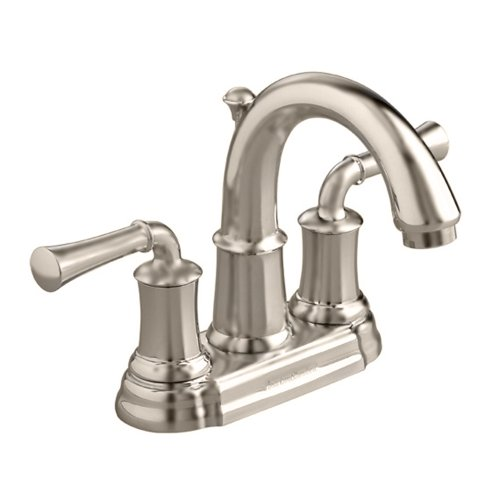Spout Centerset Faucet 4' (American Standard 7420.201.295 Portsmouth Centerset Lavatory Faucet with Speed Connect Drain with Lever Handles, Crescent Spout, Satin Nickel)