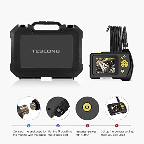 """Teslong Household Endoscope, 16.5ft Semi-Rigid Waterproof Borescope Inspection Camera with 2.7"""" LCD Screen, 6 LED Lights, 2600mAh Lithium-Ion Battery, Hard Case by Teslong (Image #6)"""