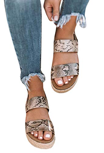 (LAICIGO Women's Single Band Espadrilles Platform Sandal with Ankle Strap )