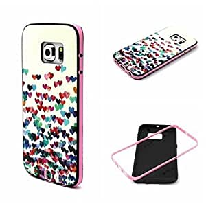 SHOUJIKE Little Love Flowers Pattern TPU Back Cover with PC Bumper Shockproof Soft Case for Samsung Galaxy S6Edge