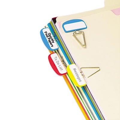 (PileSmart Label Clip File Organizers, Blue/Red/Yellow, 12/Pack)