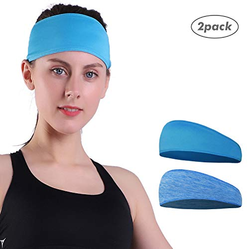 Empirelion Reversible Cool Running Headband Gym Fitness Sweatband for Women (Horizon Blue+Blue Melange)