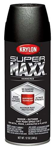 Krylon K08985000 SUPERMAXX All-In-One Spray Paint, Black Hammered, 12 (Black Hammered Paint)