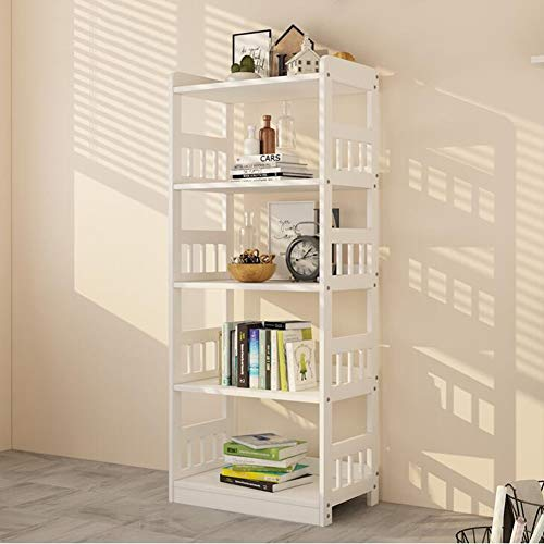 Pine Cd Storage Cabinet (3/4/5 Tier Shelf Unit Rack Display Holder Stand Home Small Bookcase Solid Pine Wood CJC (Color : White, Size : 5 Tier))