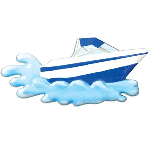 Personalized Speed Boat Christmas Tree Ornament 2019 - Red White Motorboat Hits The Water Powerboat Ride Race Sport Porsche Hobby Waterski Fast Mastercraft Gift Year - Free Customization