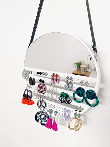 TILLYJ Hanging Earring Organizer for Women, Wall Mounted with Mirror, 12 inches - Unique Earring Organizer and Holder for Studs, Hooks, and Hoop Earrings - Decorative Storage Earring Display