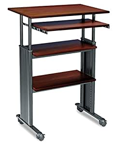 Safco Products 1929CY Muv Stand-Up Adjustable Height Computer Workstation with Keyboard Shelf, Cherry