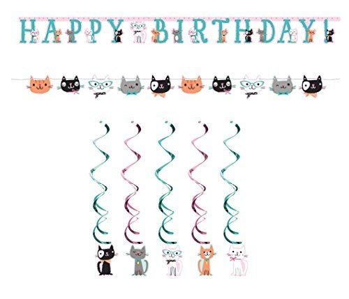 Purr Fect Kitty Cat Kitten Decorating Kit - Danglers, Happy Birthday Banner, Kitten Banner]()