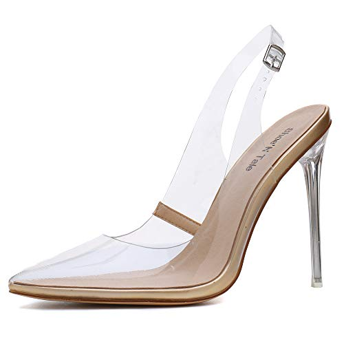 Shoe'N Tale Women's Transparent Ankle Strap Pointy Toe Slingback Patent Stiletto High Heel Sandals 8 M US Gold ()