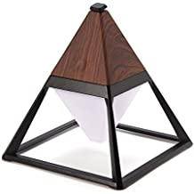 Jeteven Pyramid LED Desk Lamp Eye-care Table Reading Light 3 Mode Touch Control IP63 Waterproof with USB Charging Port for Bedroom Living Room Kids Room Office 2000mA Dark Wood