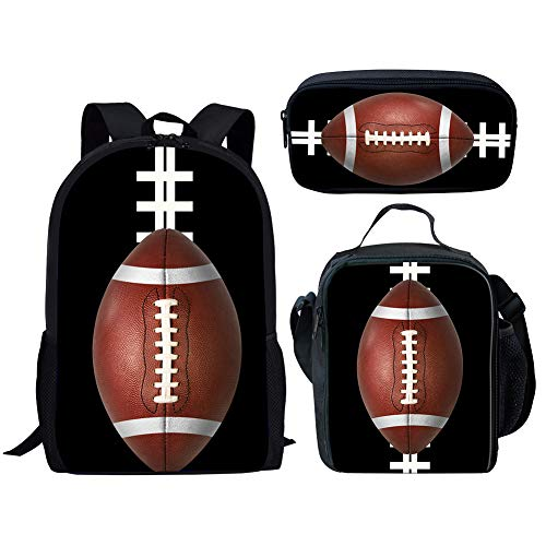 Showcool 3 pcs Backpack lunch bag pen bag 3D Printed Rugby football polyester zipper For Boys Girls School Book Bags