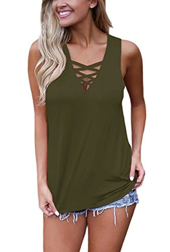 Sipaya Womens Tank Tops Loose Fit T Shirt Casual Cross Front Tops Army Green - Cross Cotton