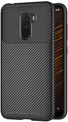 AICEK Funda Xiaomi Pocophone F1, Negro Silicona Fundas para Xiaomi Pocophone F1 Carcasa Xiaomi F1 Fibra de Carbono Funda Case (6,18 Pulgadas)