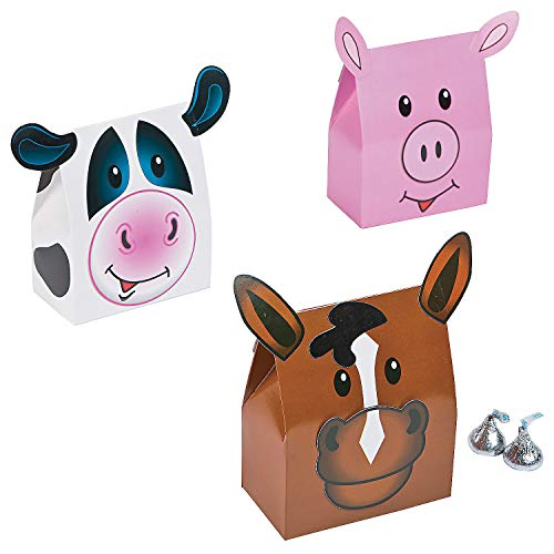 Fun Express - Farm Party Favor Boxes for Birthday - Party Supplies - Containers & Boxes - Paper Boxes - Birthday - 12 Pieces -