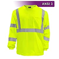 Brite Safety Style 210 Hi Vis Shirt - Long-Sleeve Safety Shirts with Pockets - 3M Scotchlite Reflective Tape - ANSI… 3