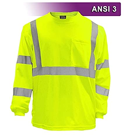f0cede32c1 Amazon.com: Safety Shirt, Hi Visibility T-shirt, Long Sleeve, with ...