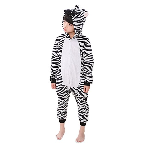 Kids Animal Onesie Pajamas Costume Cosplay for Boys Girls Child Zebra M -