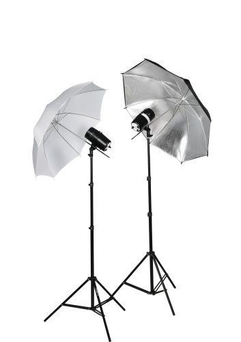 CowboyStudio 220 Watt Photo Studio Monolight Strobe Flash Umbrella Lighting Kits - 2 Studio Flash/Strobe, 2 Umbrellas