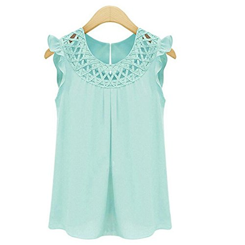 Mary Green Chemise - Beautface Makeup Blouses Women Blouses Chiffon Shirts O-Neck Summer Sleeveless Chemise Vintage Shirt Tops