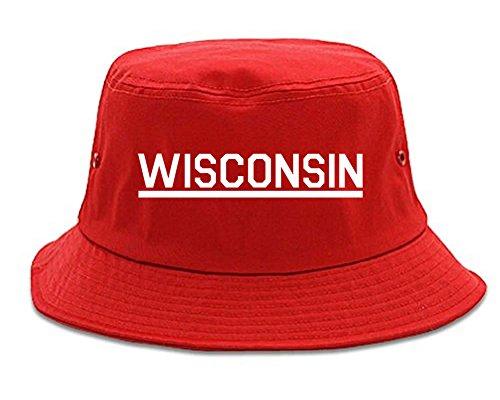 Kings Of NY Wisconsin USA State Bucket Hat Red (Streetwear Bucket Hats)