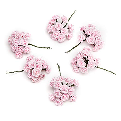 Darice VL6375 Decorative Ribbon Rose Pick, 1-Inch, Pink