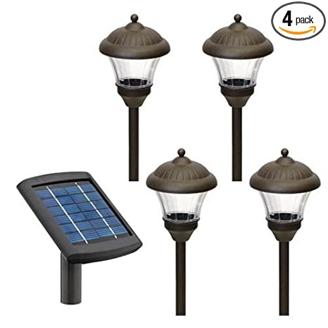 Malibu 4 pack solar metal landscape lights with remote panel and malibu 4 pack solar metal landscape lights with remote panel and white leds oil rubbed mozeypictures Choice Image