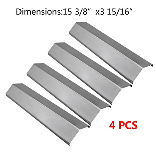 BBQ funland SH2311(4-Pack) Stainless Steel Heat Plate Replacement for Select Gas Grill Models by Aussie, Brinkmann, Uniflame, Charmglow, Grill King, Lowes Model Grills