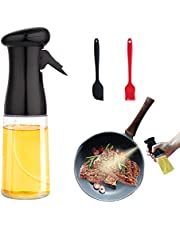 Portable Oil Spray for Cooking 210ml Big Mouth Olive Oil Dispenser Mister Leakproof Top-Cap Food-Grade Refillable Oil and Vinegar Dispenser Transparent Condiment Bottle with Brush Silicone Spatulas for BBQ/Making Salad/Grilling/Baking (Black)