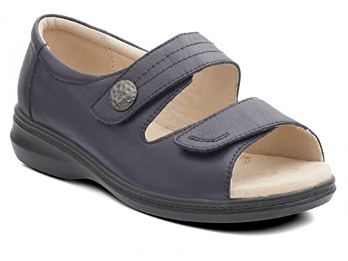Padders Women's Leather Sandal 'Shore' | Super Wide EEEE Fit | 35mm Heel | Free Footcare UK Shoe Horn Navy P3sWjCup5E