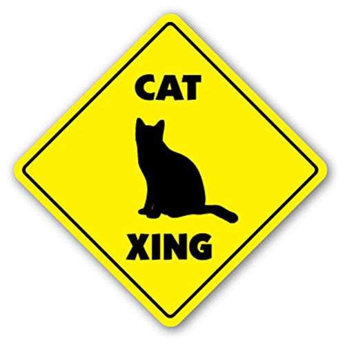 "1080 Graphics Cat Crossing Sign Novelty Gift Animals Kitten Feline Lover Pussy Collectible Sticker 8""x8"""