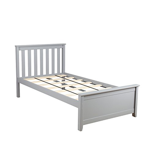 Max & Lily Solid Wood Twin-Size Bed, Grey