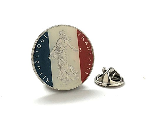 France Coin Tie Tack Lapel Pin Suit French Paris Coin Money French Eiffel Tower Europe Souvenir Nice Notre Dame