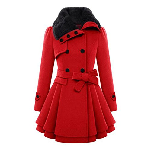 People Clothing Beautiful (Mose New Fashion Women Plus Size Long Sleeve Winter Warm Slim Thicker Parka Long Coat Overcoat (Red, 3XL))